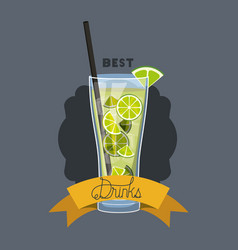 Fresh and tropical cocktail frame vector
