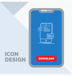Frontend interface mobile phone developer line vector