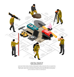 Geologist isometric composition vector