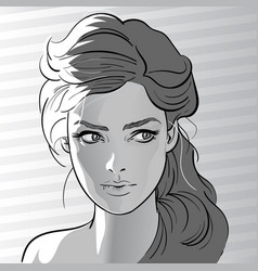 girl portrait in backlight cartoon style black vector image