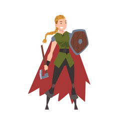 girl viking female scandinavian warrior character vector image