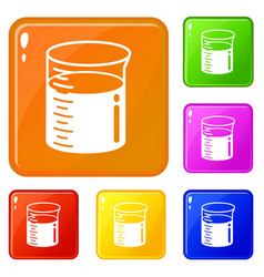Graduated beaker icons set color vector
