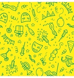 Green carnival symbols in doodle style on yellow vector image