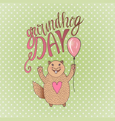 Groundhog day gift card hand drawn beautiful vector