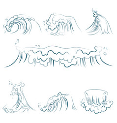 hand drawn volumetric blue line sea waves vector image
