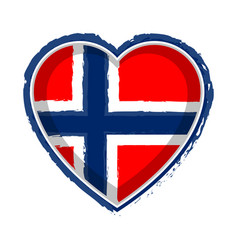 Heart shaped flag of norway vector