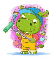 Hippopotamus use yellow overall and hold vector