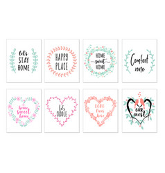Home quotes wall art prints set vector