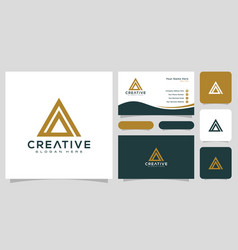 initial letter a logo line style design vector image