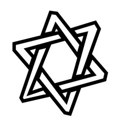 Jewish star of david six pointed star in black vector