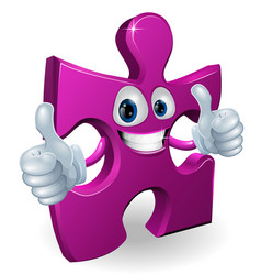 Jigsaw piece cartooon man vector