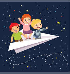 Kids flying on paper airplane vector