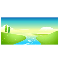 Lake and green landscape vector