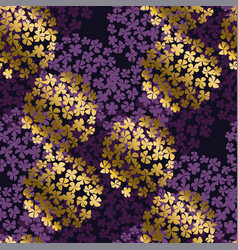 luxury violet and gold round hydrangea bouquet vector image