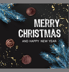 merry christmas and happy new year xmas banner vector image