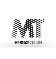 Mt m t lines letter design with creative elegant vector