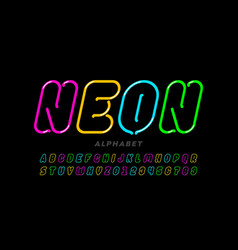 neon style font design alphabet letters and vector image