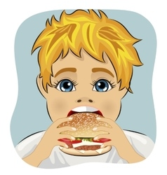 obese fat boy eating chicken cheese hamburger vector image