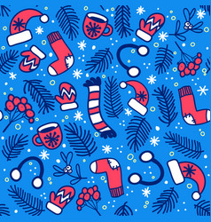 pattern with mittens socks hats on blue vector image
