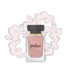 Perfume sketch with aroma cloud vector