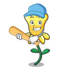 Playing baseball daffodil flower character cartoon vector