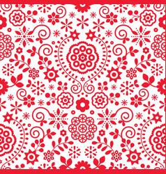 Polish folk art retro seamless pattern vector