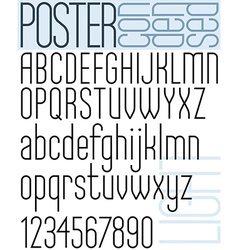Poster black light condensed font and numbers vector