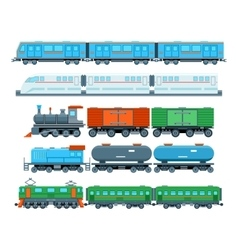 Railway trains in flat style vector image