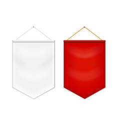 red white pennant template vector image