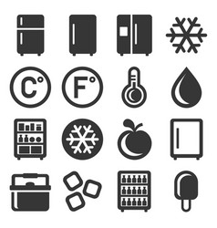 Refrigerator icons set on white background vector