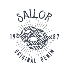 Retro nautical label with marine knot sunburst vector image