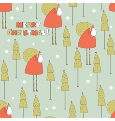 Santa in the forest Christmas seamless pattern vector image