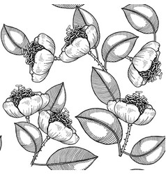 seamless floral contour page hand drawn zentangle vector image