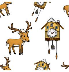 seamless pattern cuckoo clock deer merry vector image