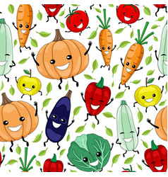 seamless pattern with funny vegetables and fruits vector image
