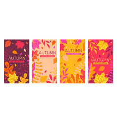Set autumn banners full of colorful autumn leaves vector