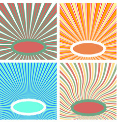 set sun rays pop art blanks bright warm colors vector image