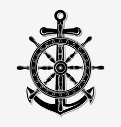 Ship wheel and anchor vector