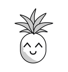 Silhouette kawaii cute happy pineapple vegetable vector