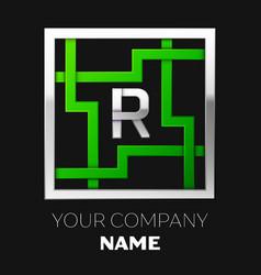silver letter r logo symbol in the square maze vector image