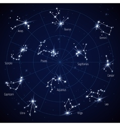 Sky star map with constellations stars vector