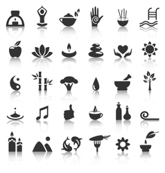 Spa yoga zen flat icons with reflection on white vector image