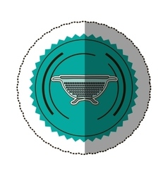 Sticker color round frame with kitchen drainer vector