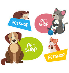 Sticker design for different types of pets vector
