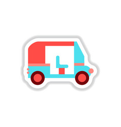 Stylish icon in paper sticker style trailer car vector