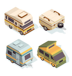 suv and camping cars isometric pictures set vector image