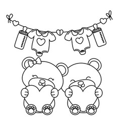 Toy bears holding hearts black and white vector