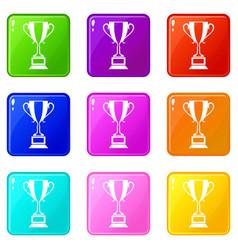 trophy cup set 9 vector image