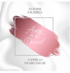 Wedding invitation with marble design vector