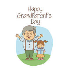 White background with scene grandpa happiness vector